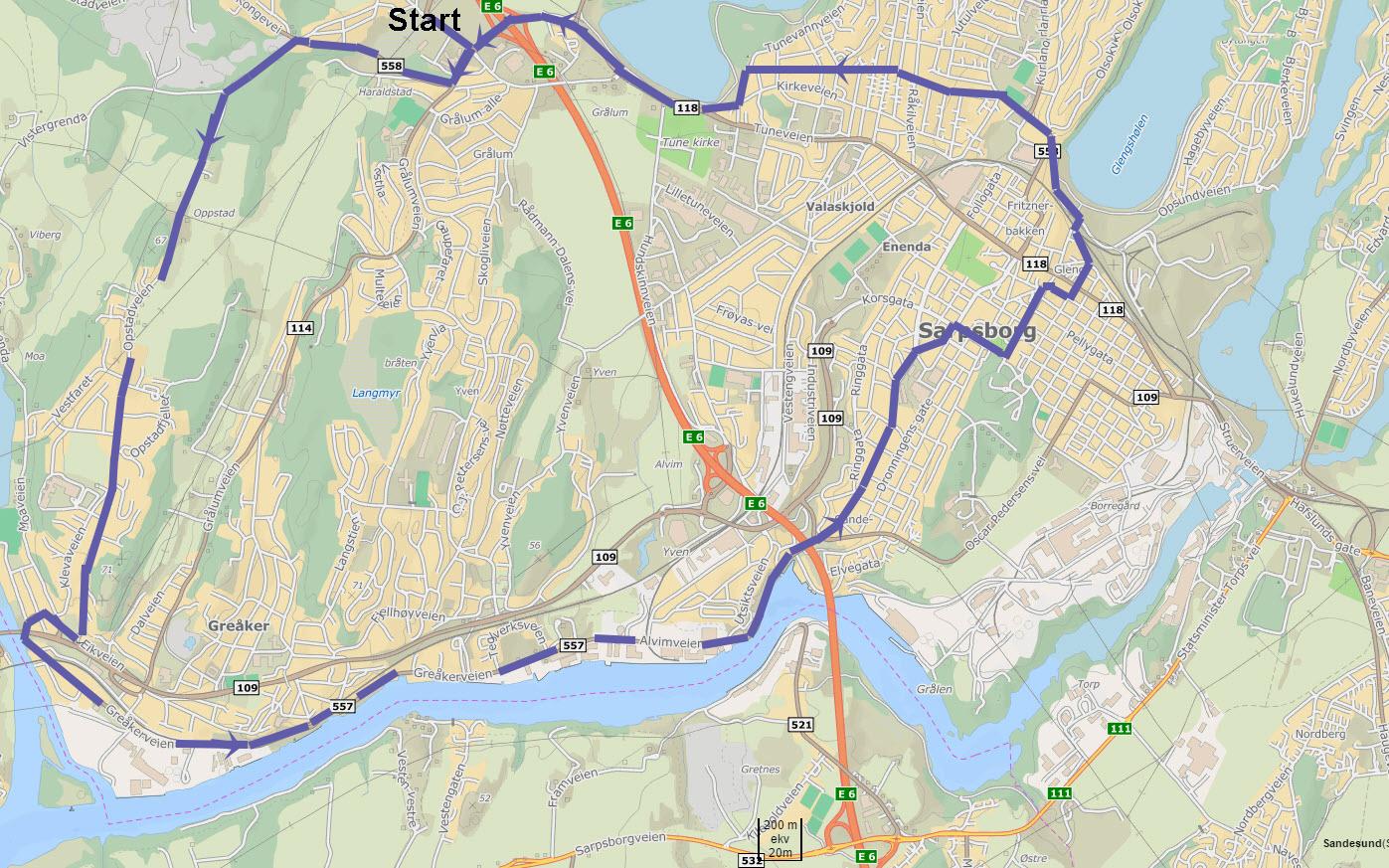 Kortesjetrase for Veteranbusstreffet i Saprsborg 2016